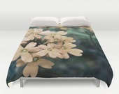 Duvet Cover - Comforter Cover - Peach Flowers Floral - Nature Bedding - Blanket Cover - King Queen Full Twin