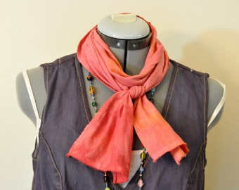 Red Orange Cotton Linen SCARF - Pink Red Hand Dyed Tie Dye Hand Made Linen Cotton Scarf #90 - 6 x 52""