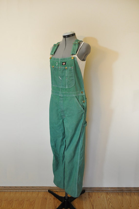 Green Small Bib Overall Pants Hand Dyed Kelly Green Dickies