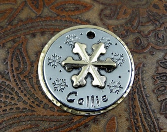 Custom Pet ID Tag Snowflake,Dog ID Tag,Personalized Pet Collar ID Tag,Snowflake Dog Tag