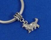 Collie Sheltie European Dangle Bead Charm - Silver Collie Dog Charm for European Bracelet