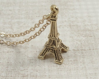 Eiffel Tower Necklace, Gold Eiffel Tower Charm on a Gold Cable Chain