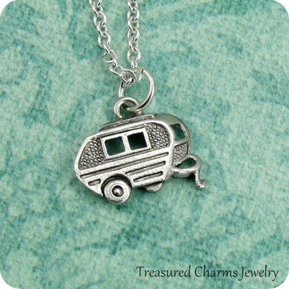 Camper RV Necklace, Silver Camper RV Charm on a Silver Cable Chain