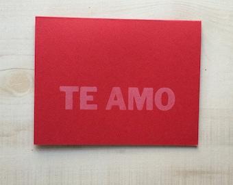 I love you / Te amo Greeting Card, Spanish Card, Blank Note Card, Spanish Language, Funny Birthday Card, Pun Card