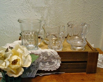 Vintage Crystal Creamers - Set of Six - French Farmhouse Collection - Starburst Patterns - Home Decor Collectibles