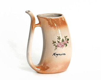 Vintage Souvenir Mineral Water Flask Krynica Poland Pink Flowers