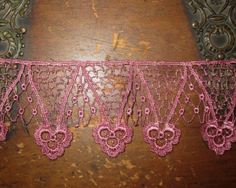 Hand Dyed Venise Lace  Vintage Bliss  Aged Rose