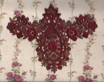 Hand Dyed Venise Lace Edwardian Bliss Applique Yoke Collar  Vintage Edwardian Christmas