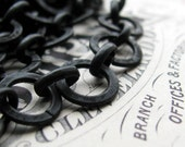 """10mm large link aged dark patina rollo chain - """"Erté"""" - black antiqued brass (per foot) (30cm) round, flat circle open links, black chain"""