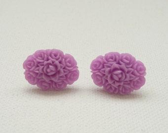 ns-Oval Lavender Resin Rose Bouquet Stud Earrings