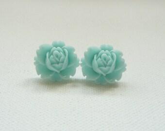 ns-Aqua Rose Flower Stud Earrings
