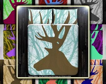 Buck Antler Hunting Deer Duvet Cover Bedding Queen Size King Twin Blanket Sheet Full Double Comforter Toddler Daybed Kid Teen Dorm