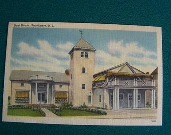 Vintage Linen Boat House  Strathemere New Jersey  Postcard