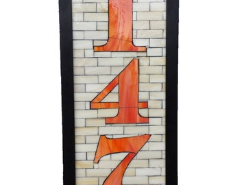 Custom House Numbers in Stained Glass Mosaic