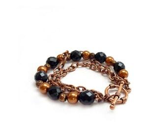 Multistrand Copper Bracelet - Black Czech Beads - Chain Bracelet - Swarovski Pearls - Handmade Bracelet