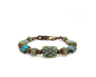 Aqua & Opal Boho Bracelet - Engraved Picasso Glass Beads - Teal Blue - Bohemian Jewelry - Layering Bracelet
