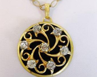 Vintage Round Rhinestone Enamel Pendant Necklace