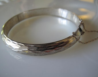Vintage Sterling Bangle Bracelet with Safety Chain