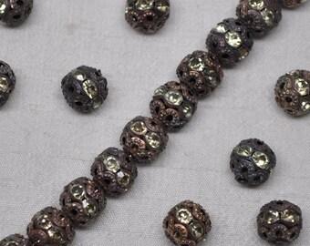 8mm Vintage Gold Patina Rhinestone Filigree Beads 10 or 20 Pieces