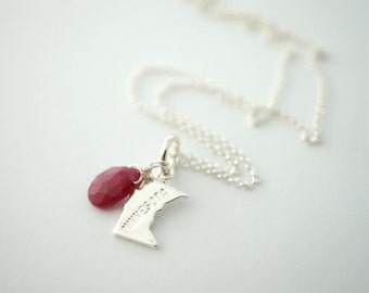 State of Minnesota Charm Necklace with Ruby Bead, State Necklace, MN Necklace, Silver Minnesota Necklace