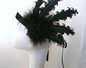 Black Curled Feather Lace & Pearl 1920's Flapper Ribbon Tie Head Band Great Gatsby Downton - Custom Order