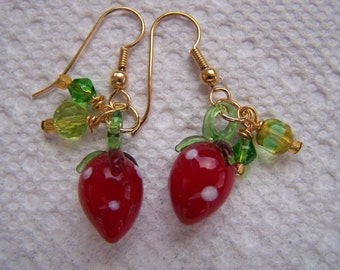 Strawberries Red Green Lampwork Glass Dangle Earrings Doodaba