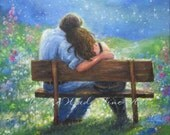 Loving Couple Art Print lovers in moonlight hugging, anniversary gift, starry night, park bench lovers paintings wall decor, Vickie Wade Art