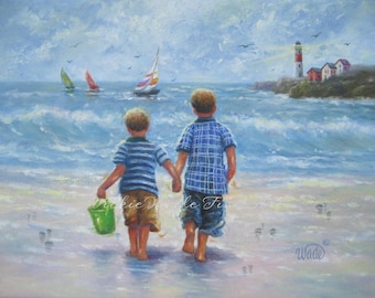 Two Beach Boys Art Print two brothers, beach wall art, boys room, beach art, sailboats, lighthouse, ocean, little boys bedroom art Wade Art