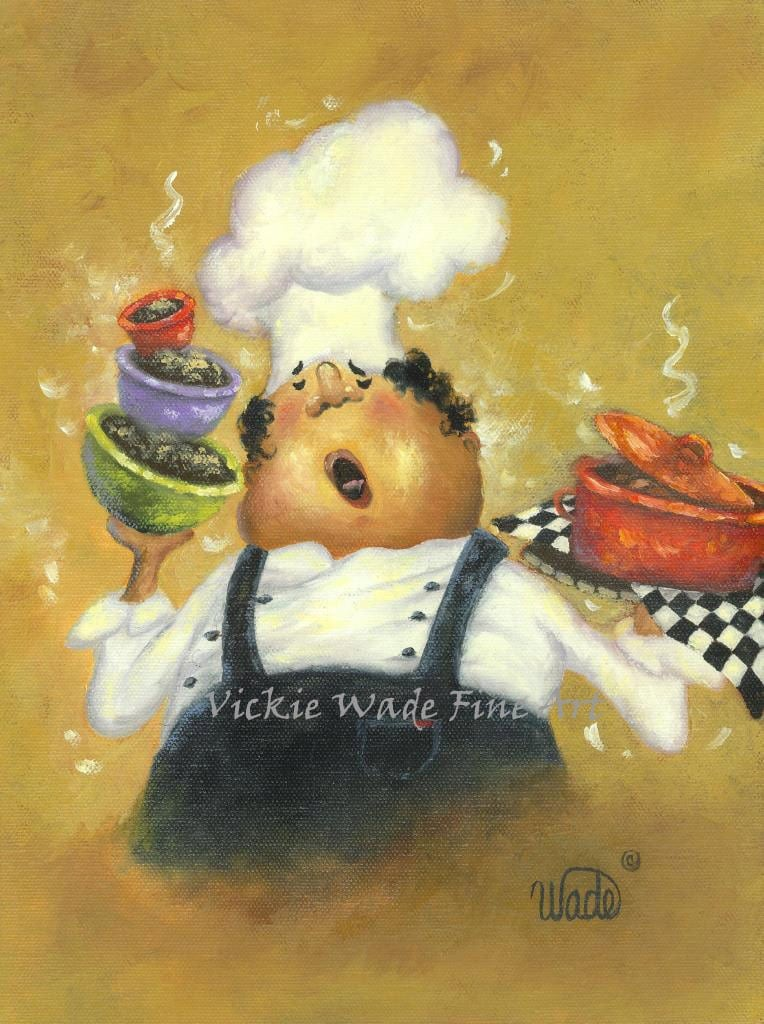 Singing Chef Print Fat Chef Kitchen Art Paintings Prints