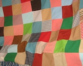 vintage quilt top  hippie  cottage chic  retro handmade colorful patchwork    queen or King size 100 x 100 inches