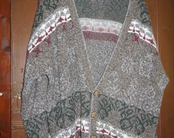 vintage mens oversize 80s cardigan sweater sz xlarge
