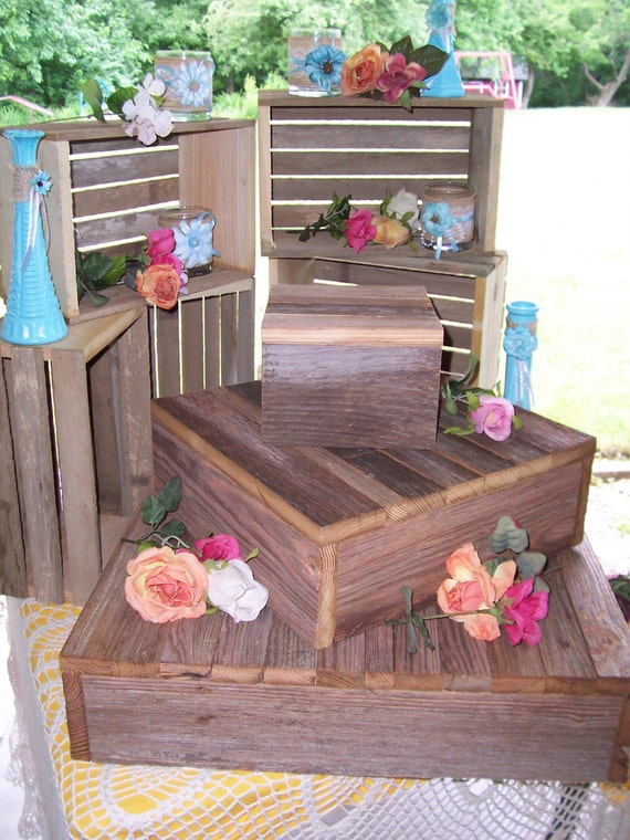 3 tier rustic cupcake stand wedding decorations wedding for Decoration stand