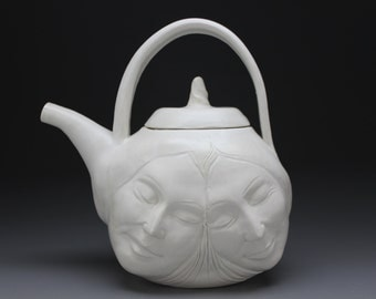 Lovers Teapot, Porcelain Relationship Face Pot Sculpture with Healing Hands in Bas Relief