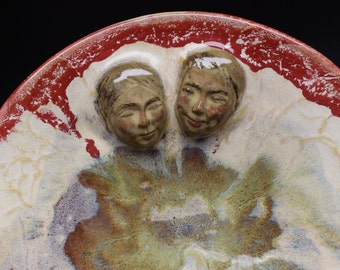 Lovers Serving Platter Wall Art Sculpture Roundel Bas Relief Faces Snuggling Couple Red Glaze Rim