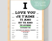 """Digital Download """"I love you"""" Printable Art - 8x10 inches (20.32 x 25.4 cm) - Instant Digital Download - Valentine's Day - Je Taime - Gift"""