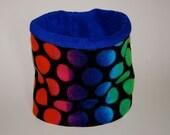 Kids Fleece Neck Warmer / Neck Gaiter / Cowl Scarf - Multi Dots Purple - Kids or Adult Sizes