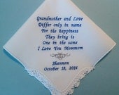 GRANDMOTHER Custom Handkerchief Personalized with Easy Ordering Grandma Embroidered Wedding Hankerchief