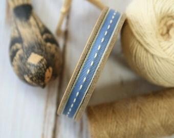 Dark BLUE thin stitched fabric woven cotton blend ribbon