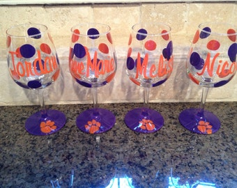 Hand painted personalized Clemson  Wine Glasses