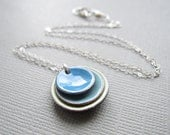 Layered Circles Blue Tea Green Enamel Necklace Sterling Silver