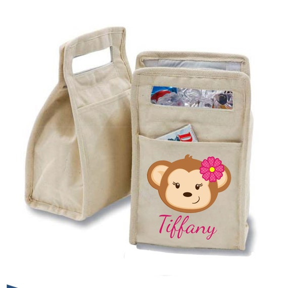 Personalized Monkey Girl Insulated Cotton Lunch Bag - Personalized with Any Name and You Choose the Font!