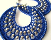 Crocheted hoops with beads in Royal Blue
