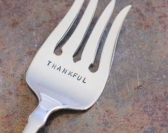 "Server ""Thankful"" Hand Stamped Serving Fork for Holiday Entertaining, Thanksgiving Table Decor"