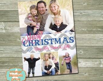 Custom Photo Christmas Holiday Card (4x6, 5x7, or 6x7.5 Costco size) - Bright Chevron