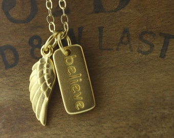Angel Wing Necklace Believe - Inspirational Quote, 24K Gold Over Bronze, Believe in Miracles