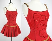 50s Dress Vintage Burlesque Estate Performer Dancer Showgirl Stage Circus Pony Back Rider Red Rayon Sequins Gold Braid 1950s Dresses