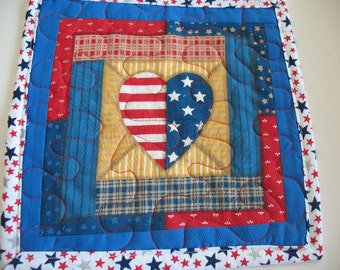 Quilted Red White and Blue Americana Heart Mug Rug or Personal Placemat