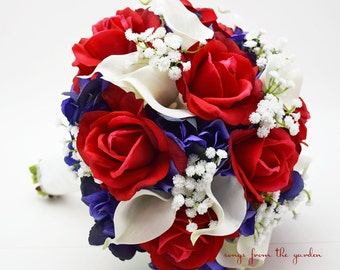 Red White & Blue Bridal Bouquet Roses Hydrangea Calla Lilies Baby's Breath Wedding Bouquet Silk Flower Bouquet Real Touch Red White and Blue