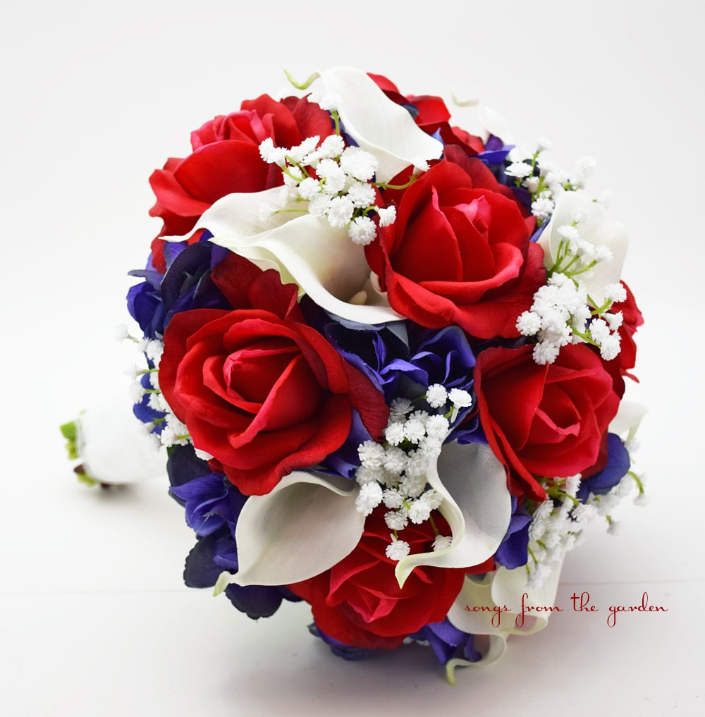 Red white blue bridal bouquet roses hydrangea calla lilies