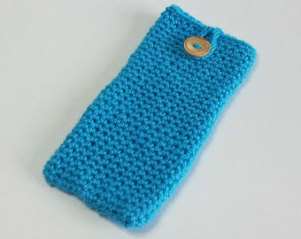 Phone Cosy in Turquoise - Crochet Phone Cosy - Smart Phone Cosy - SALE